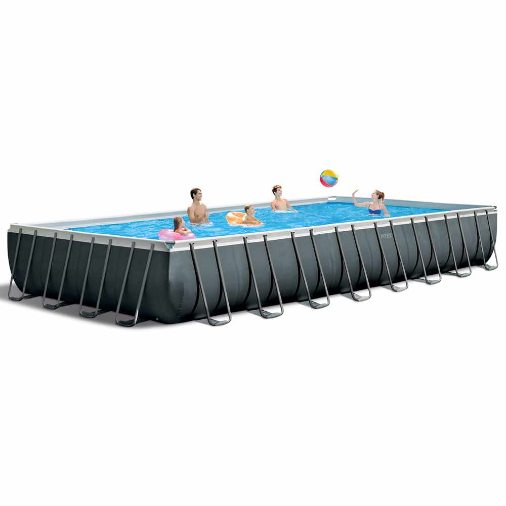 Piscine hors-sol Intex 8 ex 8 rectangulaire Ultra Frame volley-ball  8x8x8