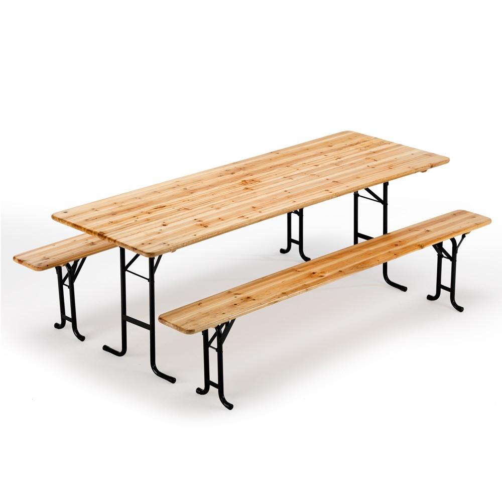 Table de brasserie bancs en bois jardin pliant festival 220x80 - neu