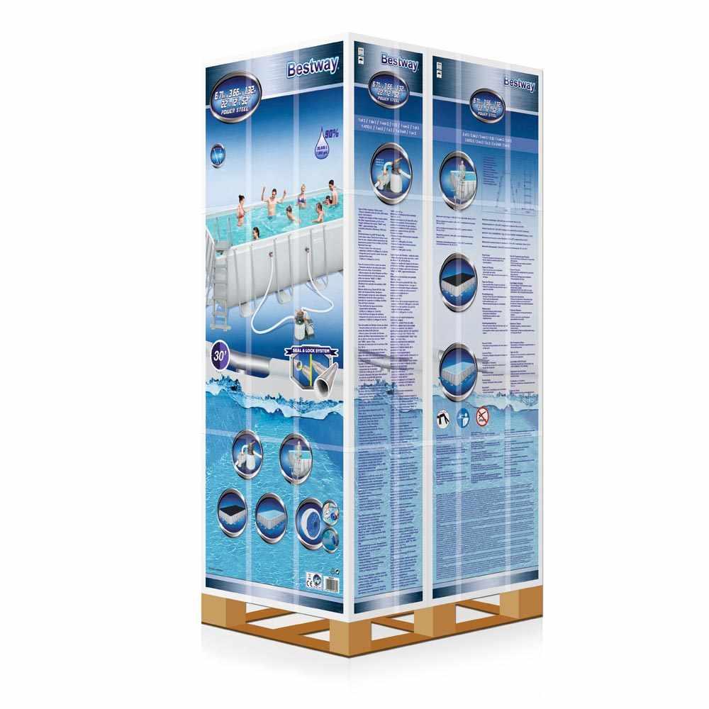 Piscine Bestway 56471 Frame POWER STEEL Rectangulaire Hors-Sol 671x366x132