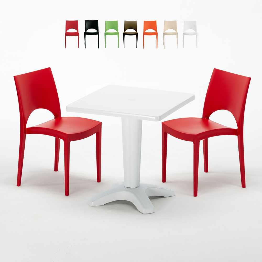 Table Carrée Blanche 70x70cm Avec 2 Chaises Colorées Grand Soleil Set Bar Café PARIS PATIO