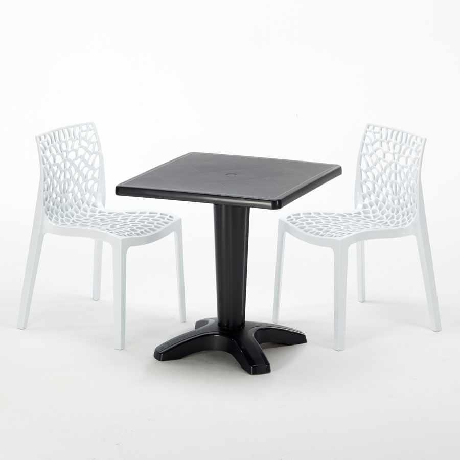 Table Carrée Noire 70x70cm Avec 2 Chaises Colorées Grand Soleil Set Bar Café GRUVYER AIA