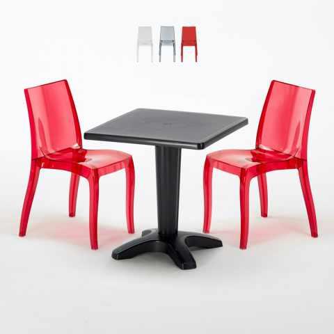 Table Carrée Noire 70x70cm 2 Chaises Grand Soleil Bar Café