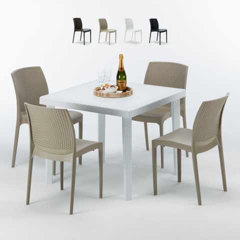 Table carrée beige + 4 chaises colorées Poly rotin