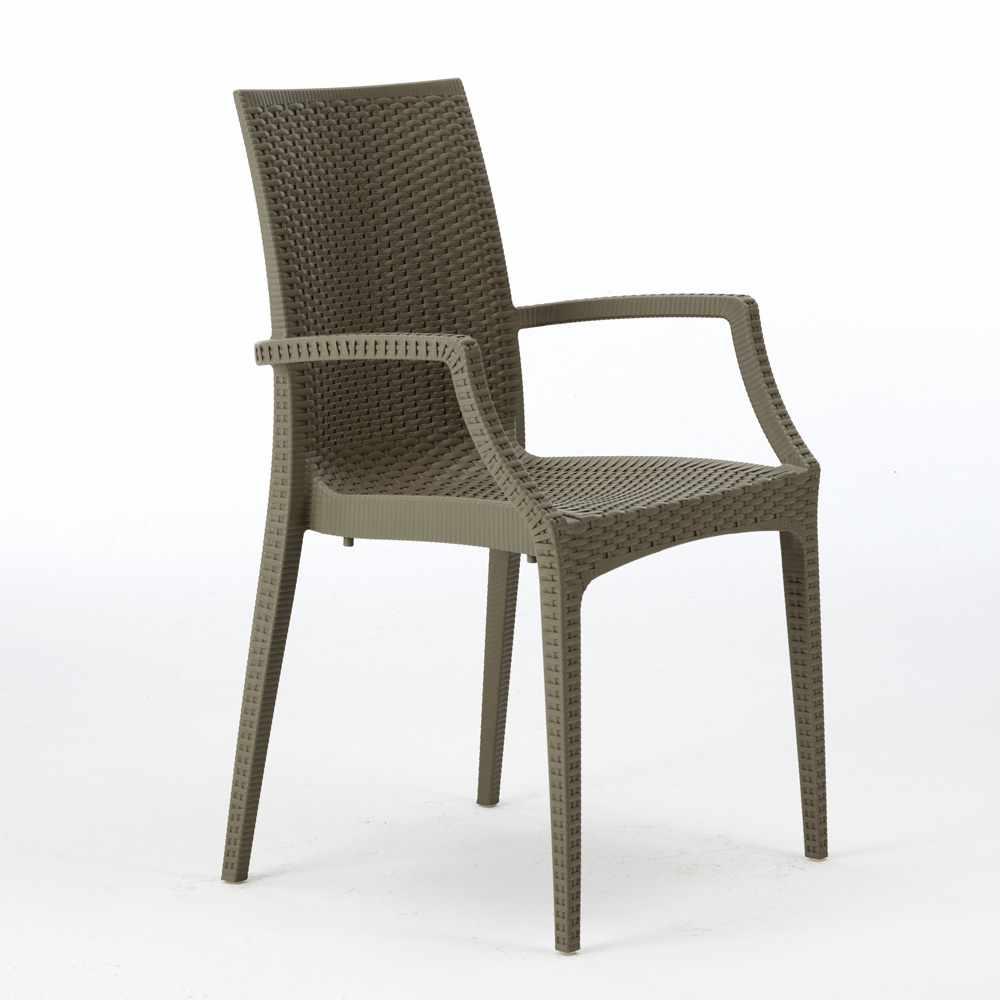 miniature 25 - Chaises de jardin fauteuil accoudoirs bar café restaurants en Poly-rotin BISTROT