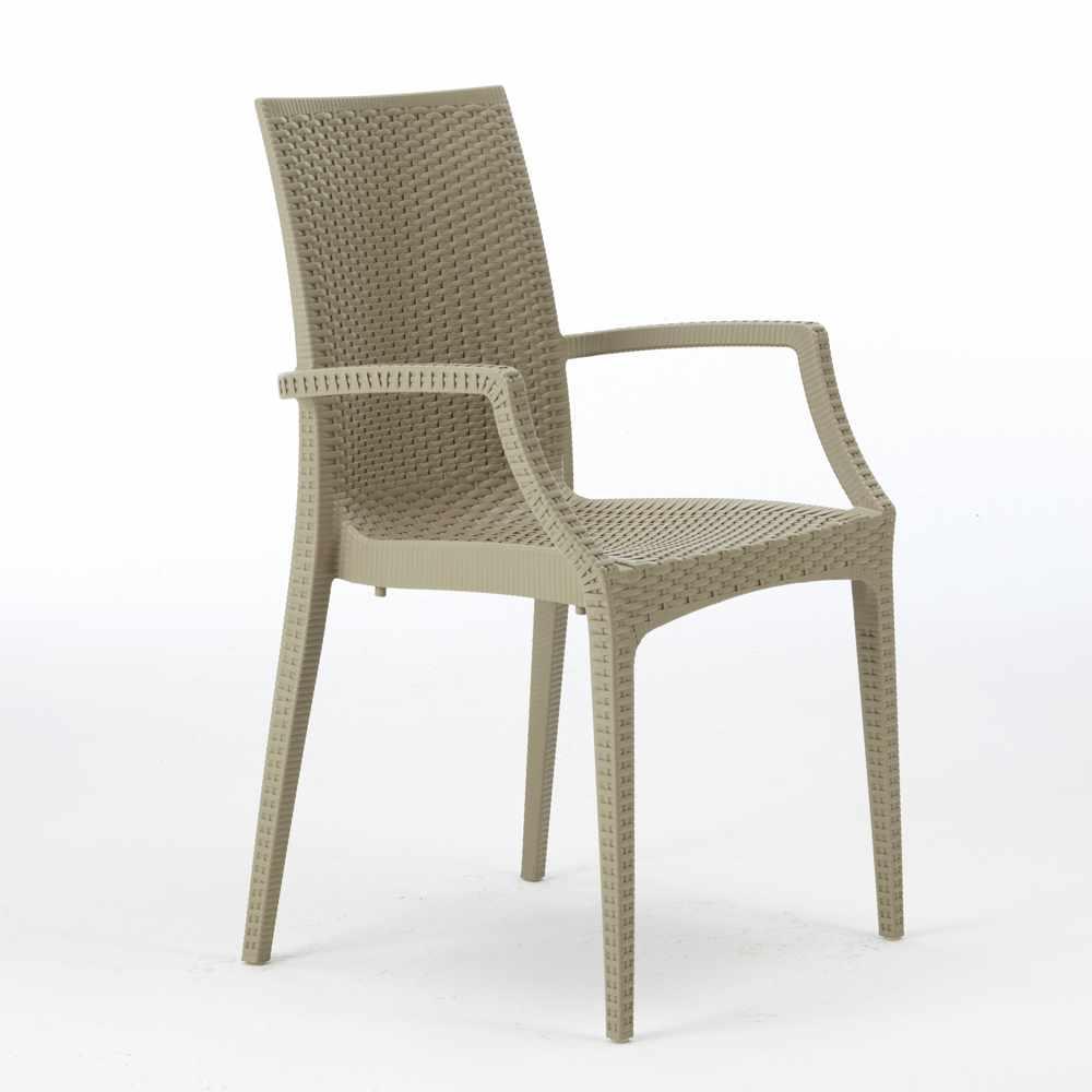 miniature 19 - Chaises de jardin fauteuil accoudoirs bar café restaurants en Poly-rotin BISTROT