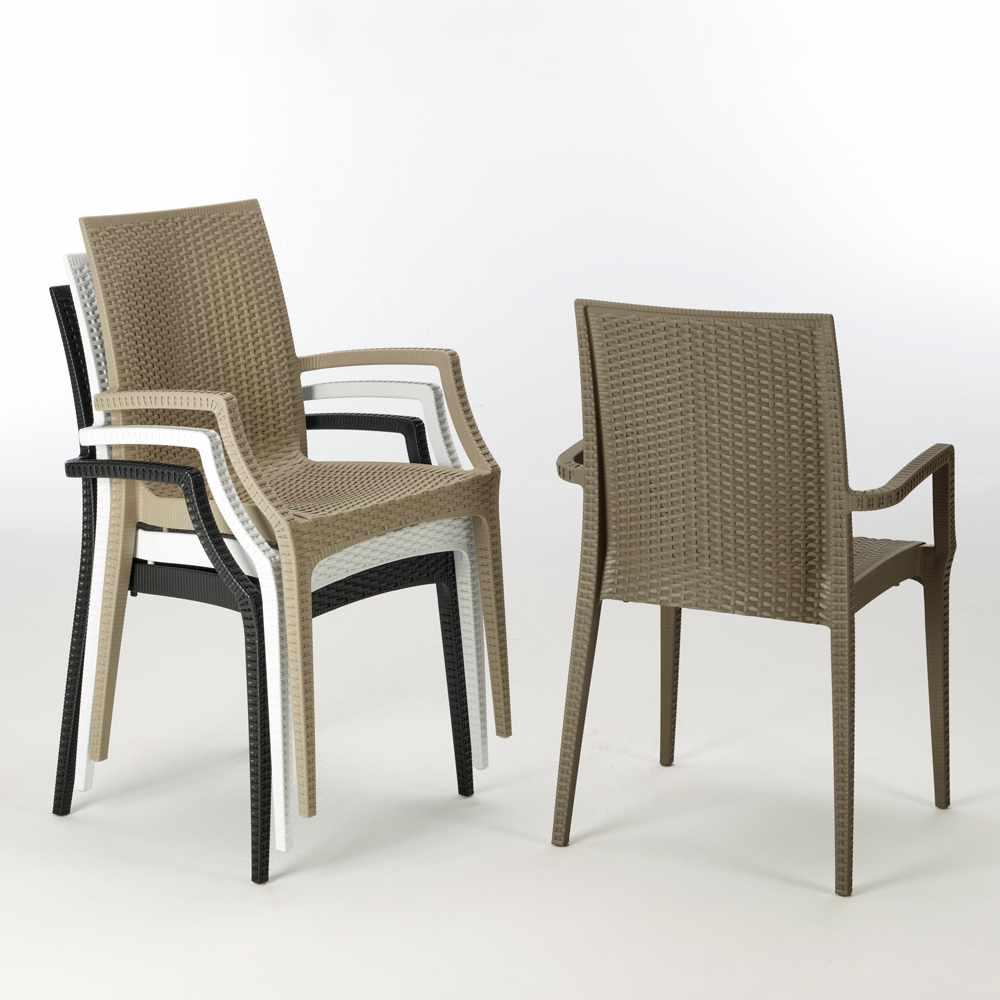 miniature 33 - Chaises de jardin fauteuil accoudoirs bar café restaurants en Poly-rotin BISTROT