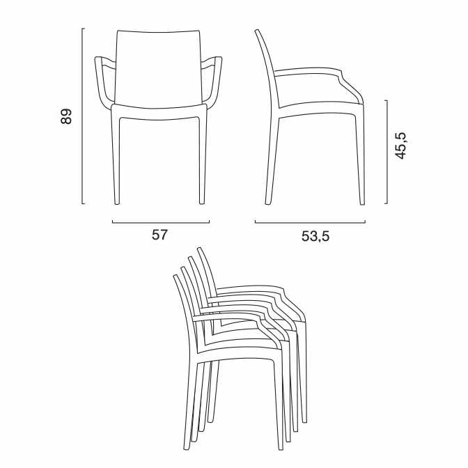 miniature 34 - Chaises de jardin fauteuil accoudoirs bar café restaurants en Poly-rotin BISTROT