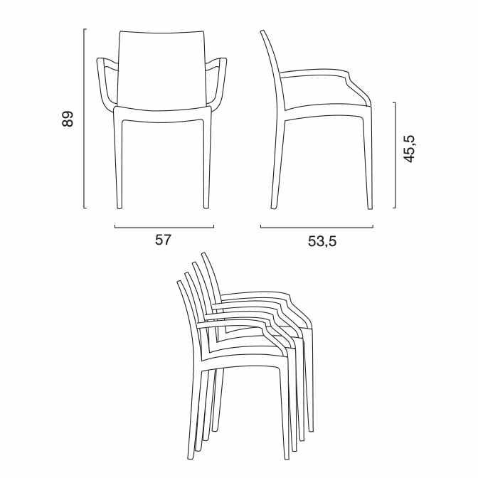 miniature 22 - Chaises de jardin fauteuil accoudoirs bar café restaurants en Poly-rotin BISTROT