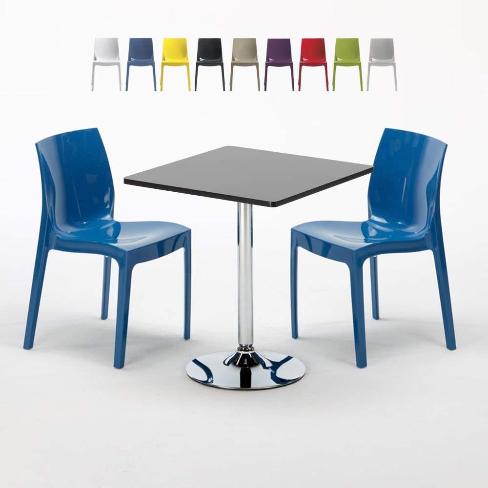 Table Carrée Noire 70x70cm Avec 2 Chaises Colorées Grand Soleil Set Intérieur Bar Café ICE MOJITO - sales