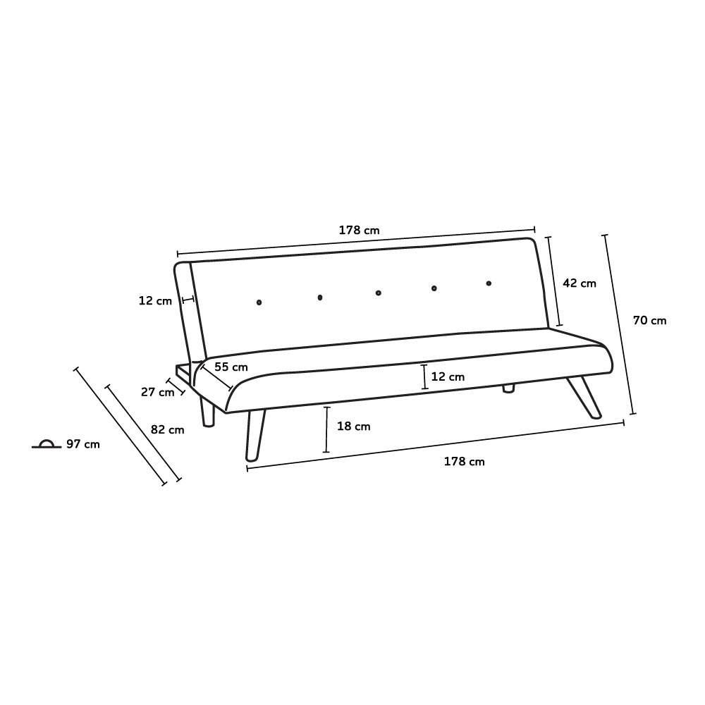 Canape-lit-convertible-2-places-LARIMAR-en-tissu-pour-le-salon-et-le-sejour miniature 16