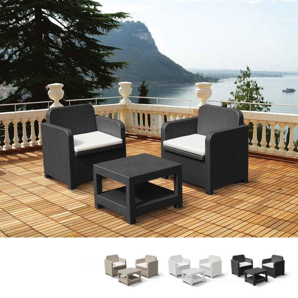Giglio Salon Pour Exterieur Jardin Fauteuils Grand Soleil Bar Poly Rotin 2 Places