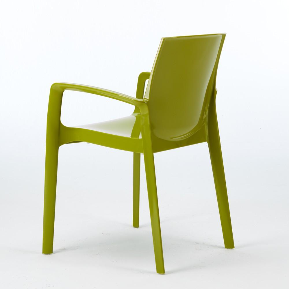 miniature 40 - Chaise polypropylène empilable avec accoudoirs salle à manger Cream Grand Soleil