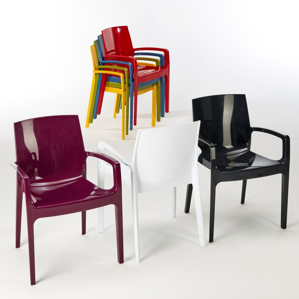 miniature 46 - Chaise polypropylène empilable avec accoudoirs salle à manger Cream Grand Soleil