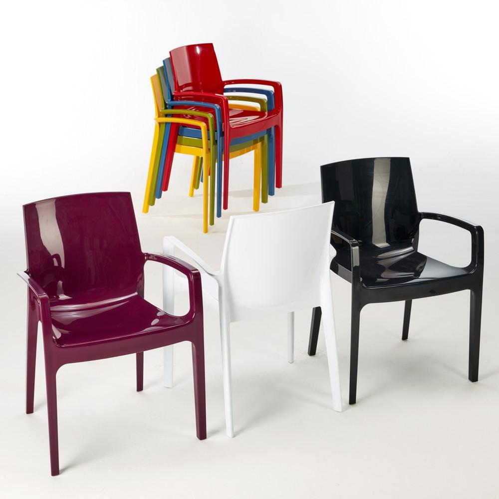 miniature 15 - Chaise polypropylène empilable avec accoudoirs salle à manger Cream Grand Soleil