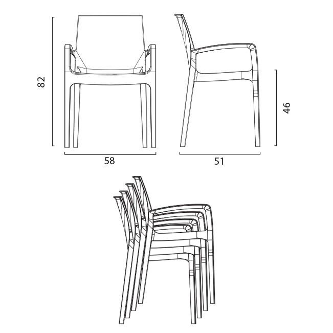 miniature 47 - Chaise polypropylène empilable avec accoudoirs salle à manger Cream Grand Soleil