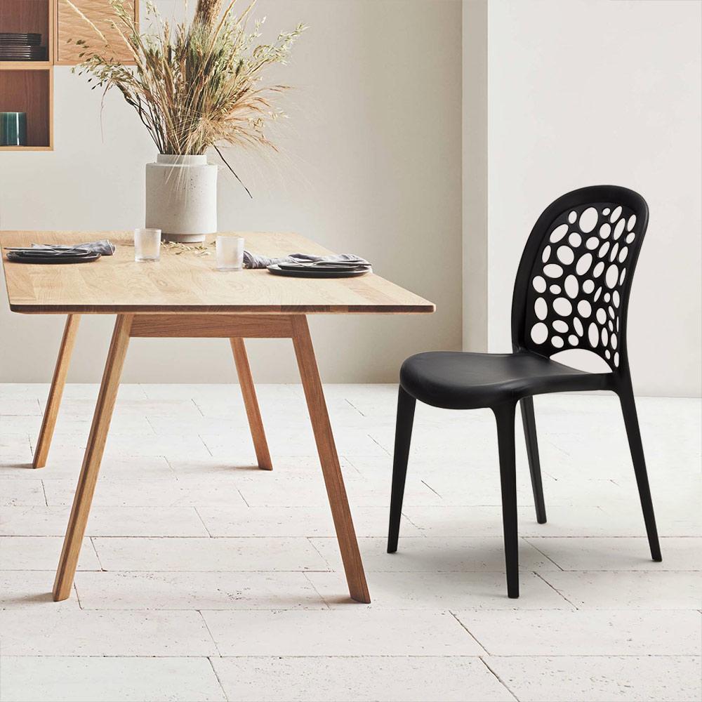 miniature 67 - Chaise salle à manger café bar restaurant jardin polypropylène empilable Design