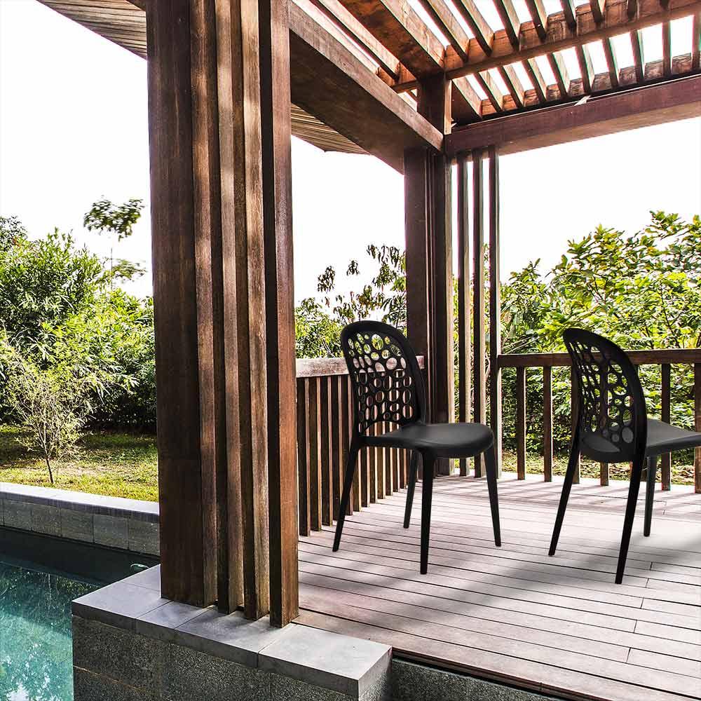 miniature 19 - Chaise salle à manger café bar restaurant jardin polypropylène empilable Design