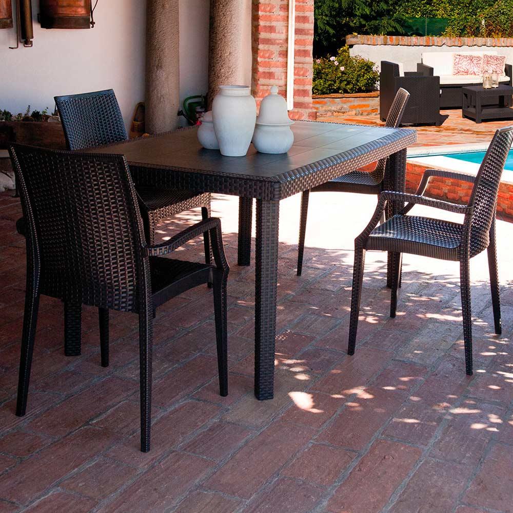 miniature 35 - Chaises de jardin fauteuil accoudoirs bar café restaurants en Poly-rotin BISTROT