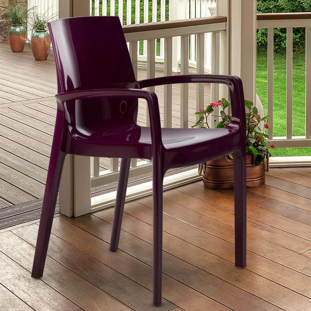 miniature 48 - Chaise polypropylène empilable avec accoudoirs salle à manger Cream Grand Soleil