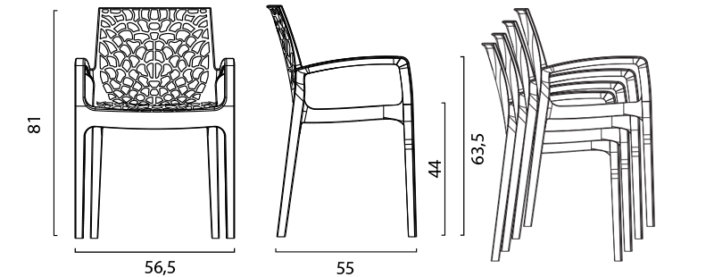 miniature 84 - Chaise en polypropylène accoudoirs jardin café Grand Soleil Gruvyer Arm