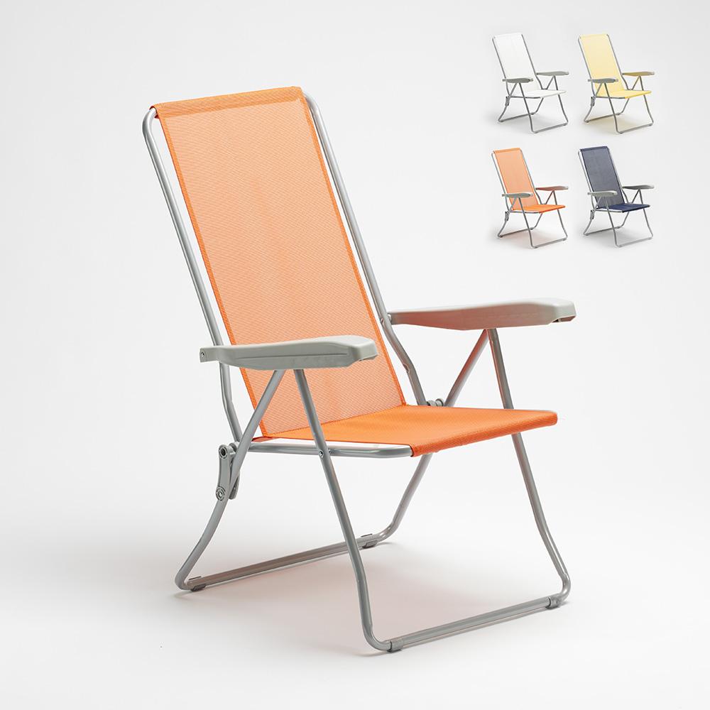 Chaise longue de jardin de plage avec accoudoirs en acier Easy