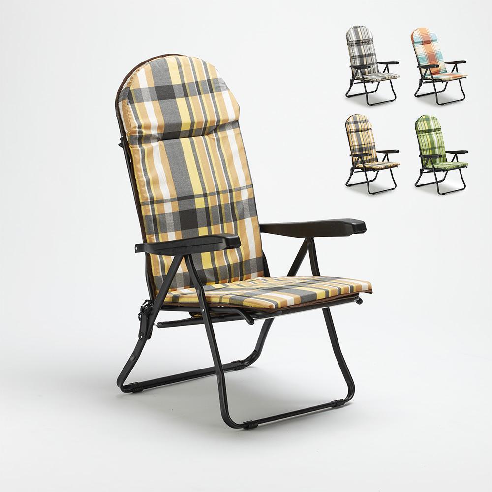 Chaise longue de jardin pliante rembourrée en acier Trench