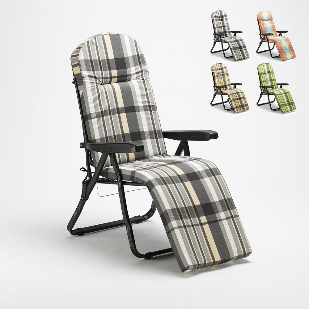 Chaise longue de jardin pliante rembourrée en acier Oldschool