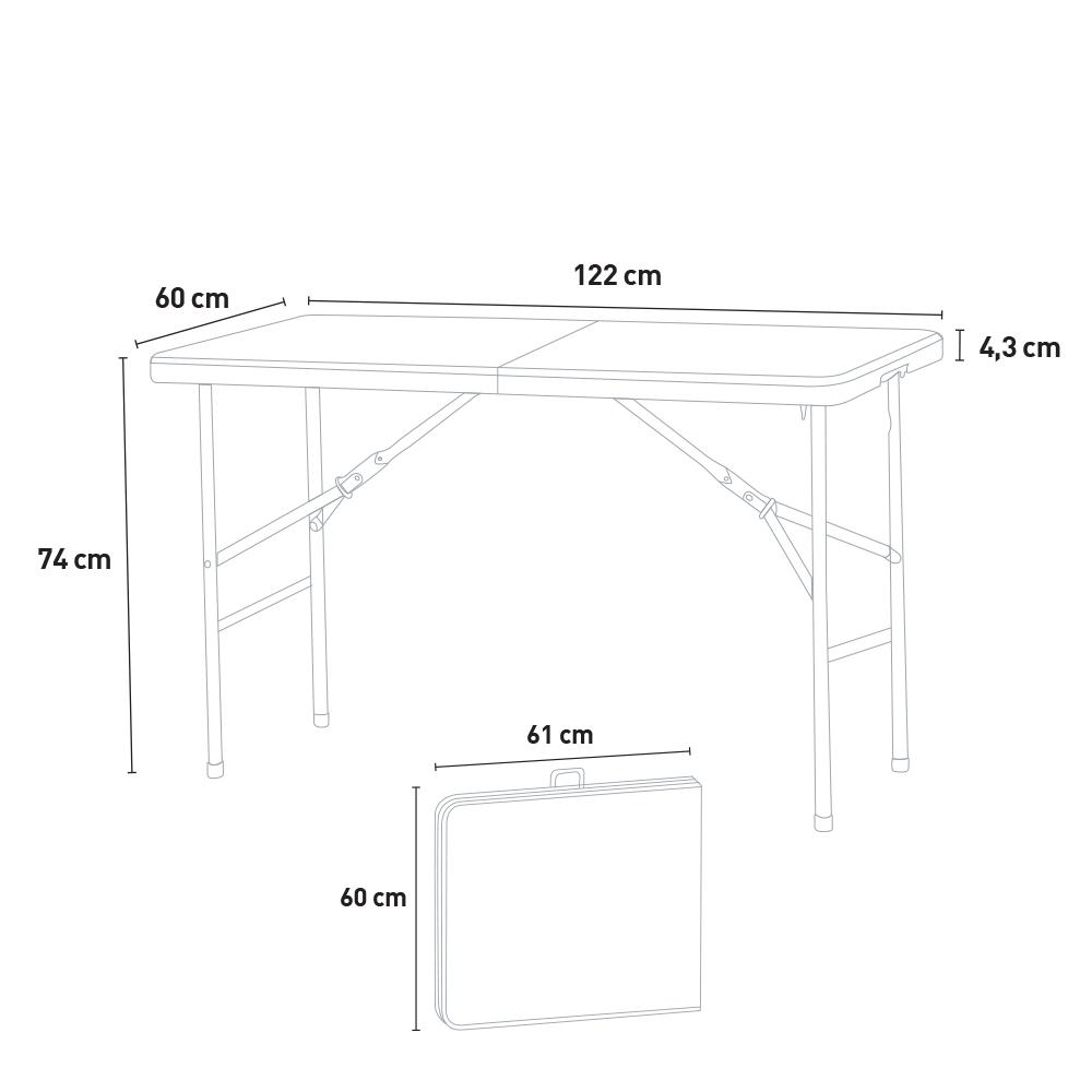 Table pliante rectangulaire 12x12 pour jardin et camping Pelvoux