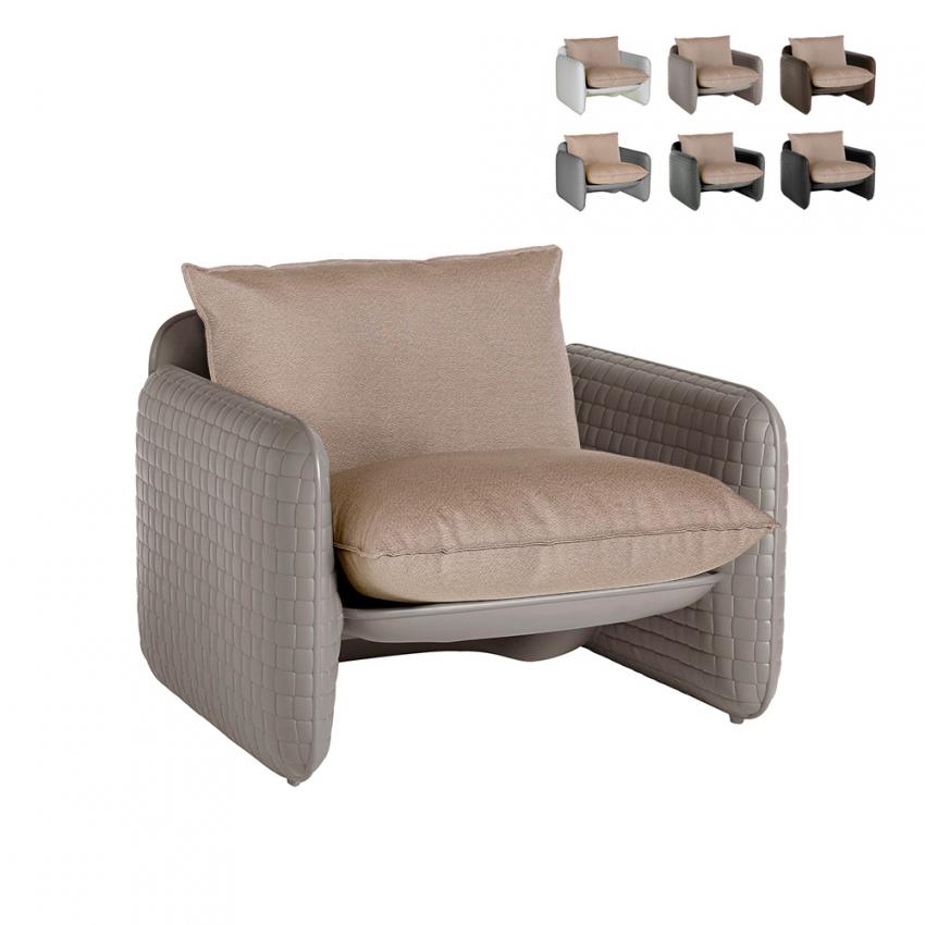 Fauteuil lounge en cuir design moderne Slide Mara intérieur et extérieur