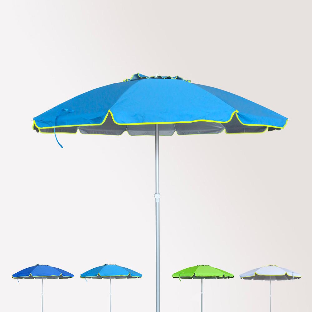 Parasol de plage 240 cm aluminium anti-vent protection uv Roma
