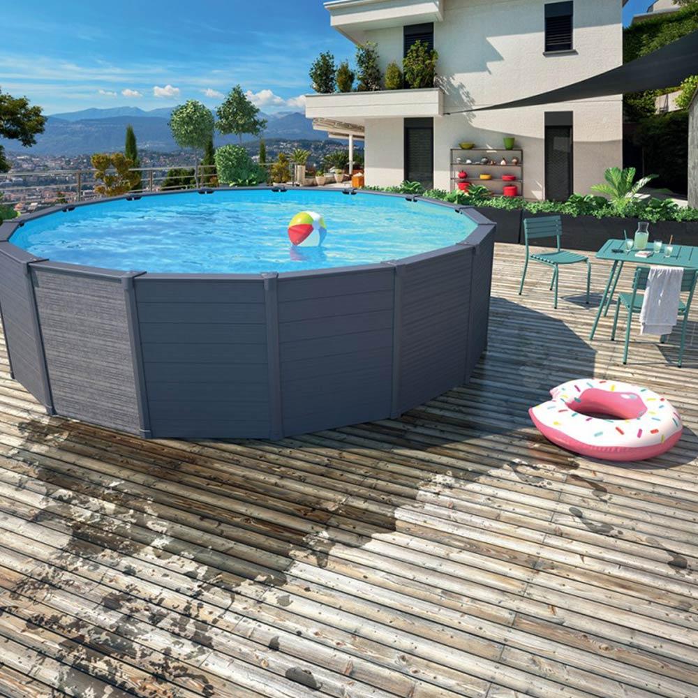 piscine hors sol graphite ronde