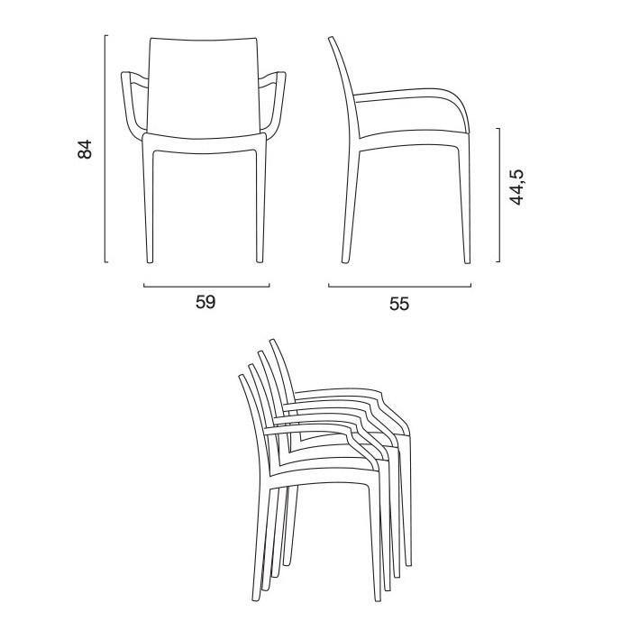 miniature 23 - Chaises de Jardin Boheme Grand Soleil Bar avec accoudoirs Poly-rotin