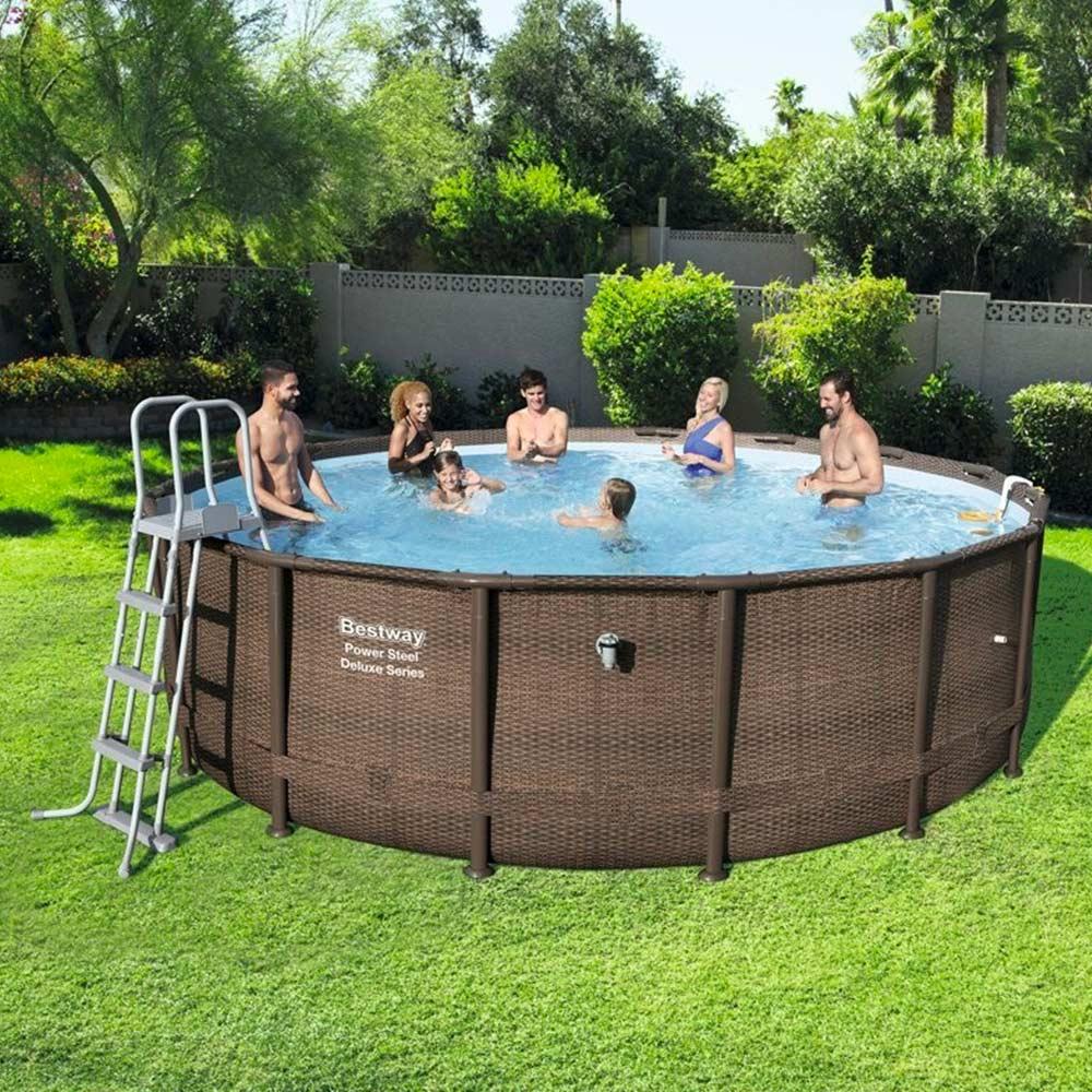 meilleures piscines hors-sol BESTWAY ronde POWER STEEL ROTIN OSIER