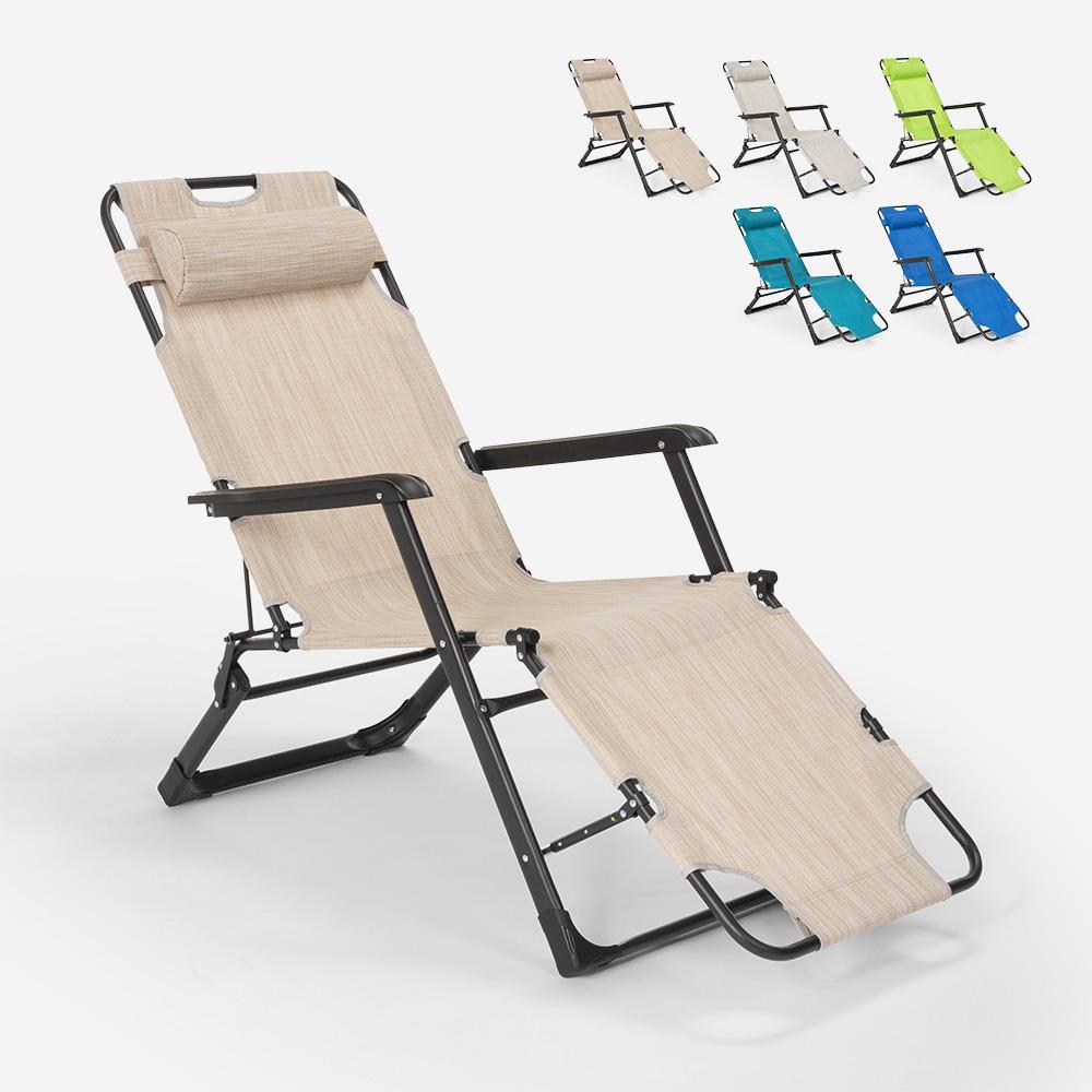 Chaise longue de plage et de jardin pliante multi-positions Emily Lux Zero Gravity