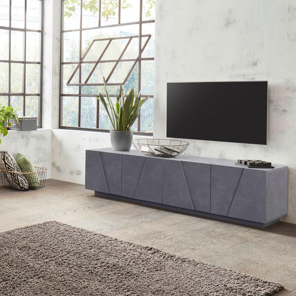 Meuble TV 4 portes 2 pièces design moderne Ping Low L Ardesia