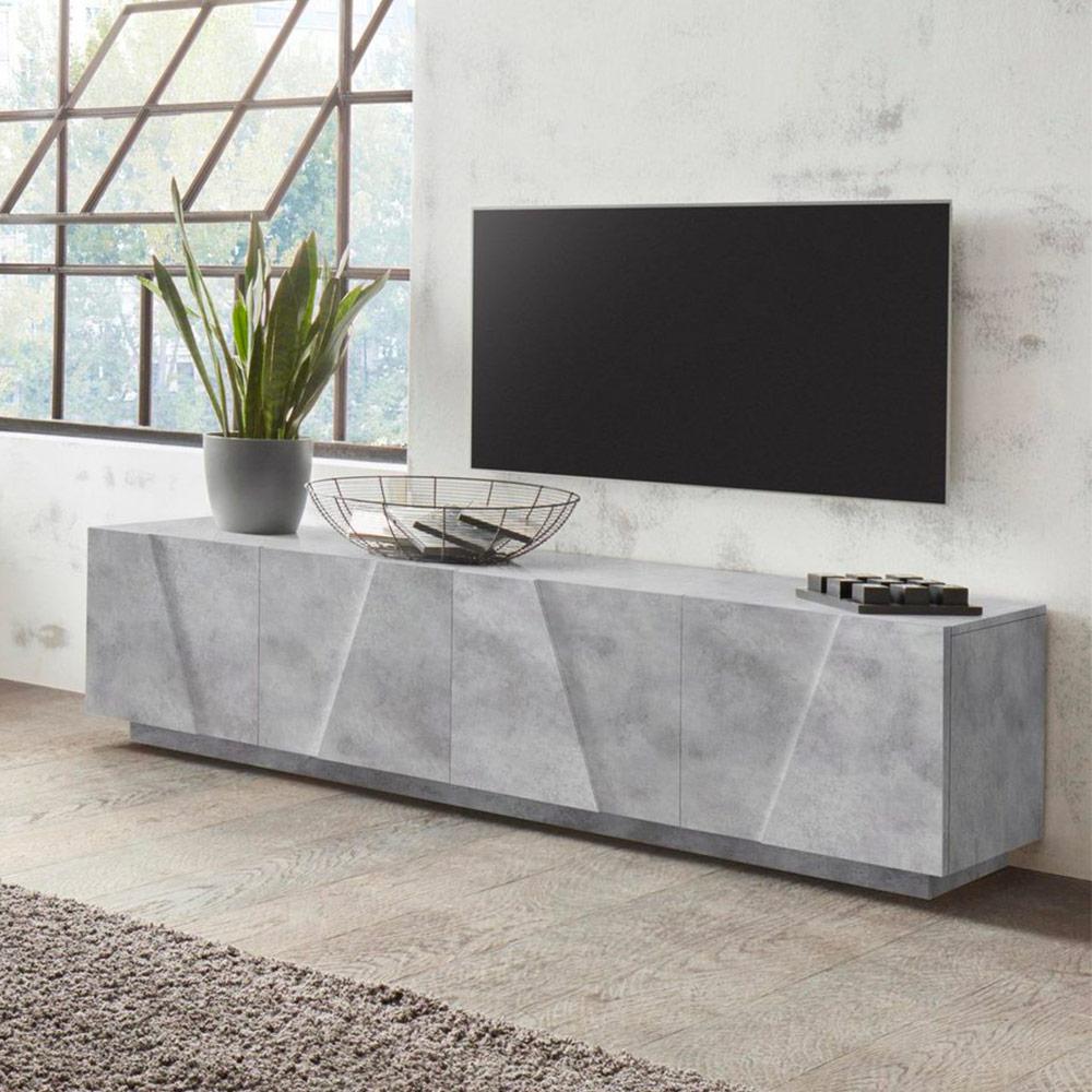 Meuble TV 4 portes 2 pièces design moderne Ping Low L Concrete