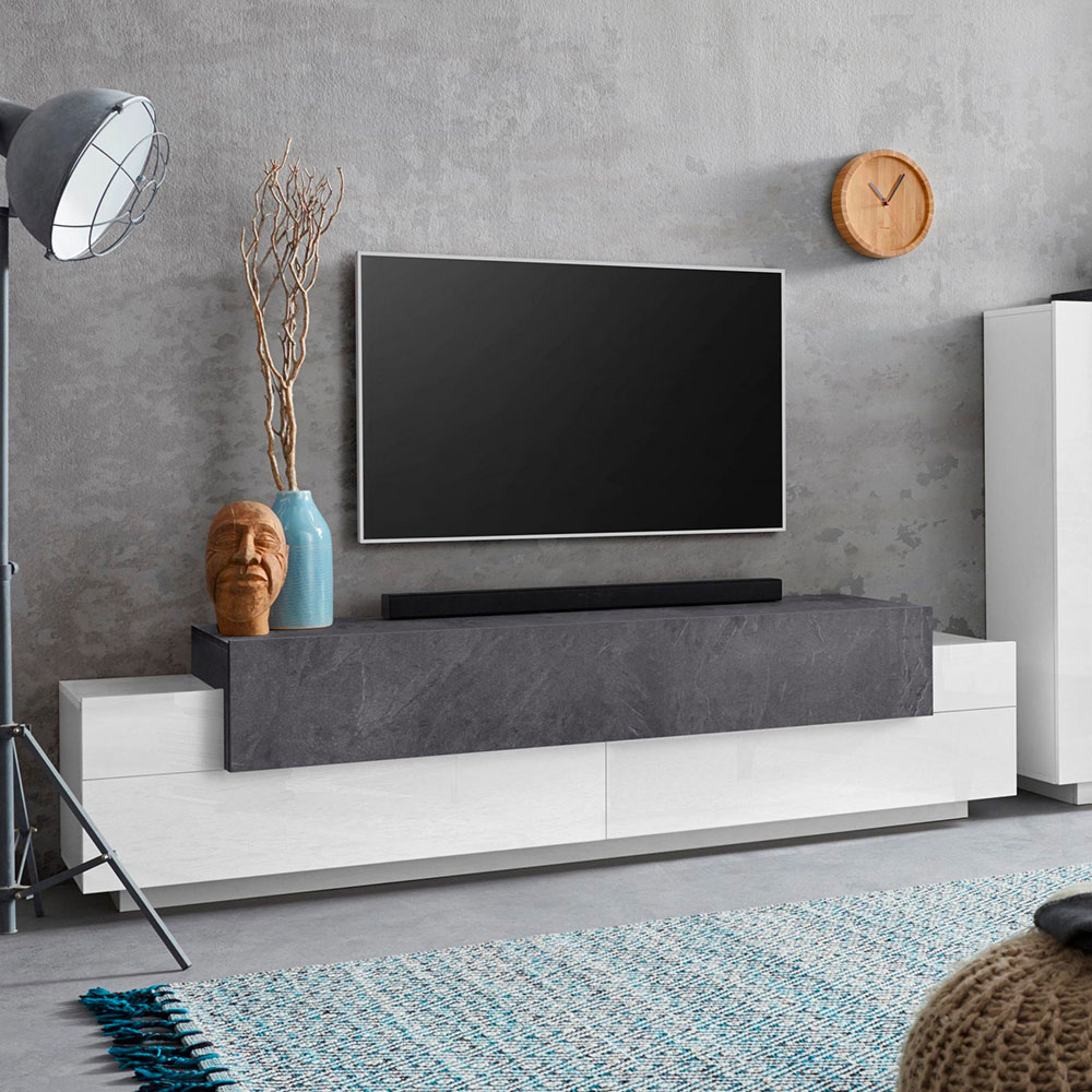 Meuble TV 4 compartiments 3 portes battantes 200cm design moderne Corona Low Report