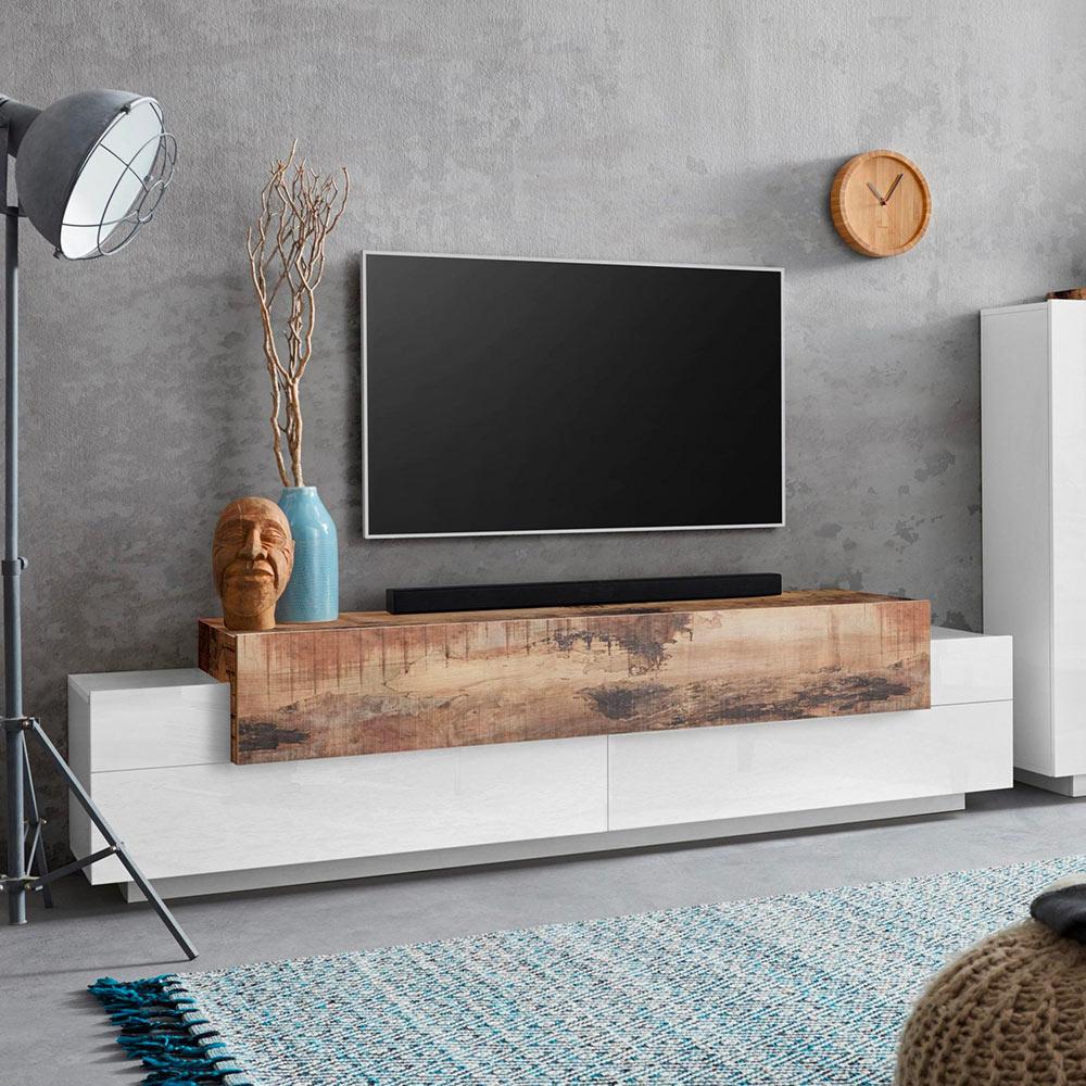 Meuble TV 4 compartiments 3 portes battantes design bois blanc Corona Low White