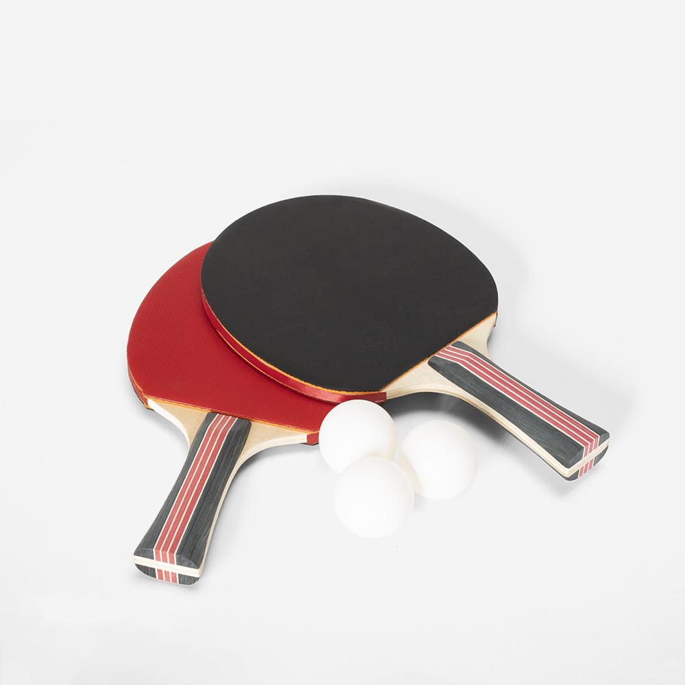 Lot de 2 raquettes et 3 balles pour tennis de table Corkscrew