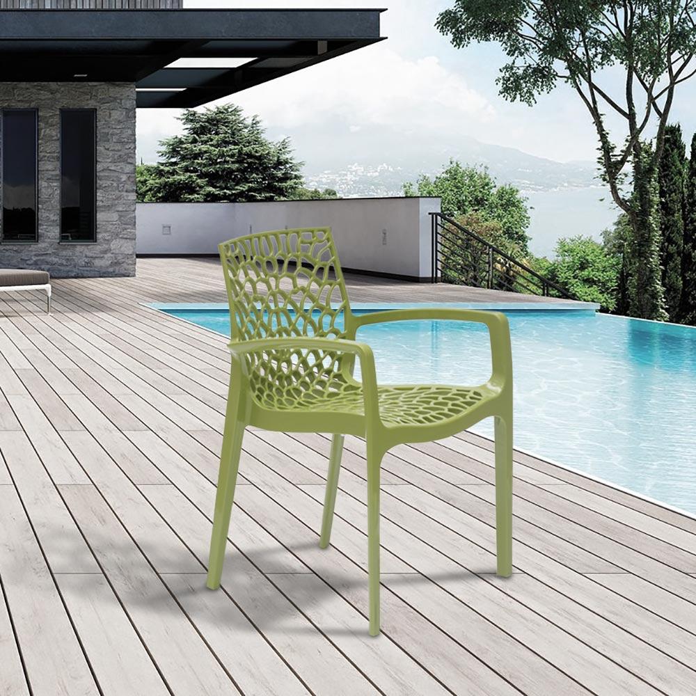 miniature 80 - Chaise en polypropylène accoudoirs jardin café Grand Soleil Gruvyer Arm