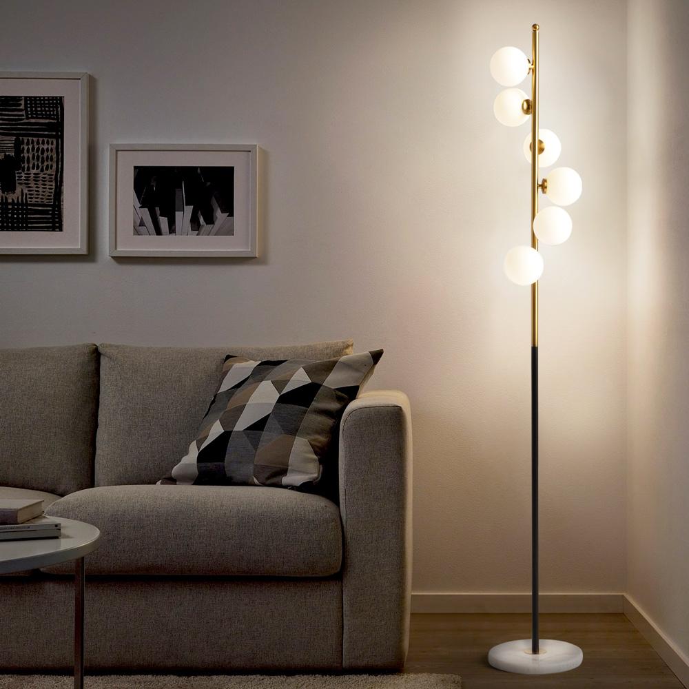 Lampadaire design avec abat-jour LED avec base en marbre Alibreo