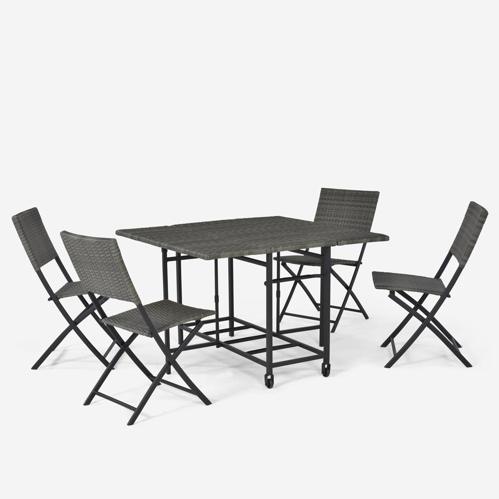 Salon de jardin extérieur table carrée 4 chaises pliantes modernes en rotin Lentel