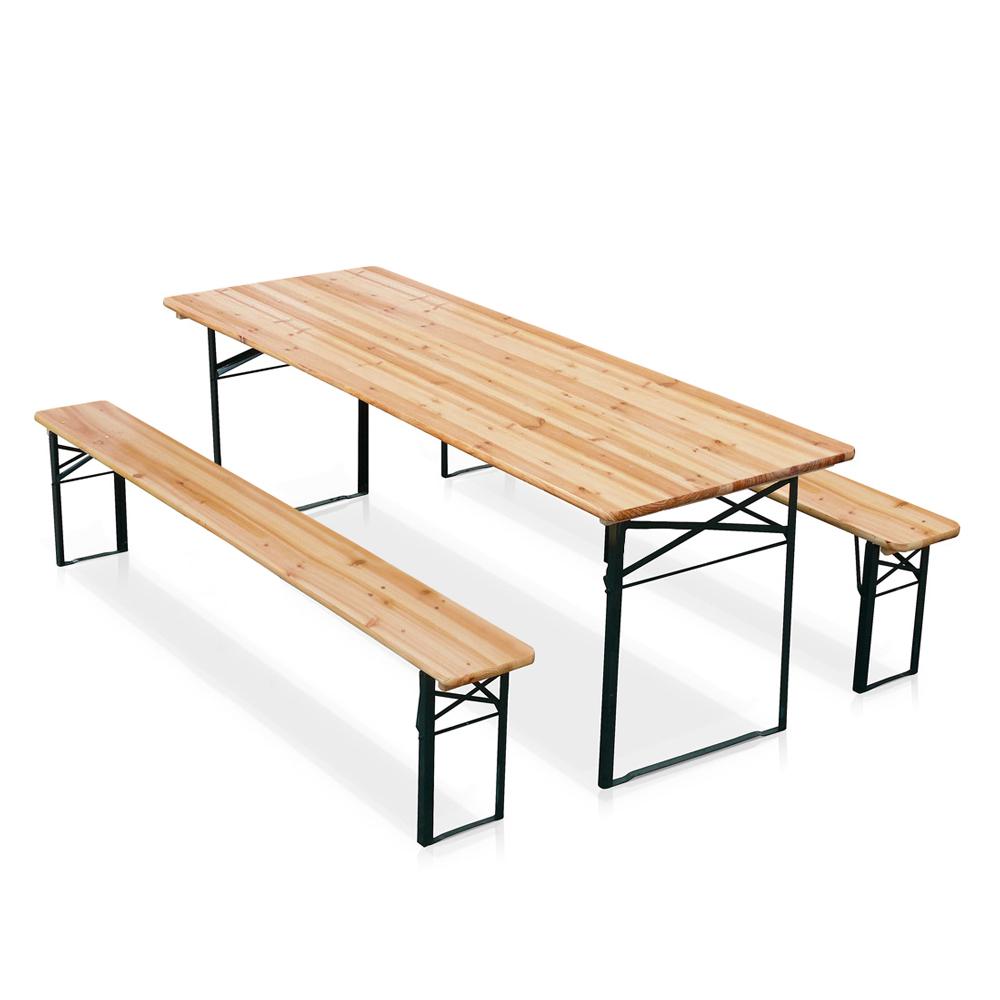 Ensemble table et 2 bancs pliant de brasserie en bois pour jardin et fêtes Oktober