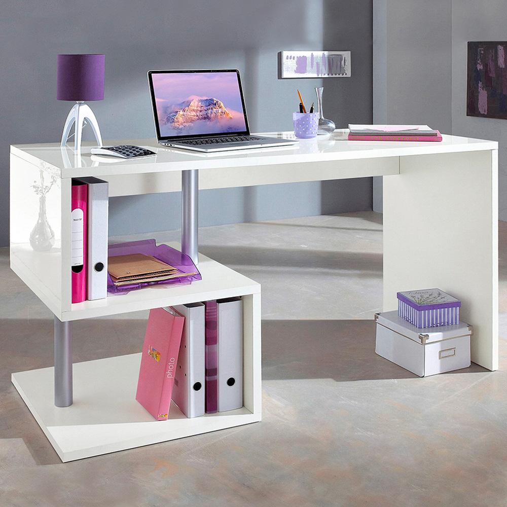 Bureau d'étude au design moderne 140x60 blanc avec étagères ouvertes Bolg