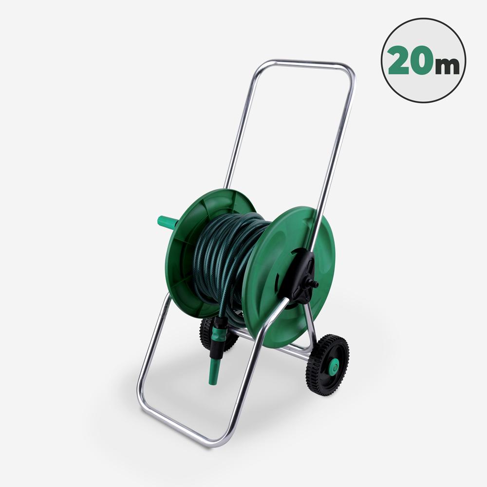 Chariot À Enrouleur De Tuyau Avec Enrouleur De 20 M Pour L'irrigation Du Jardin Tubulus