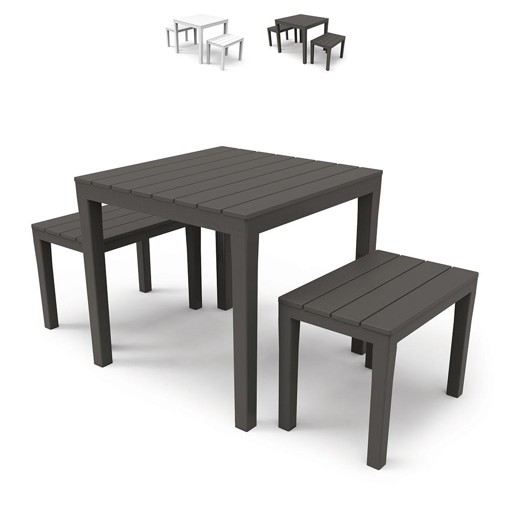 Ensemble de salon de jardin extérieur avec table et bancs Progarden Papua