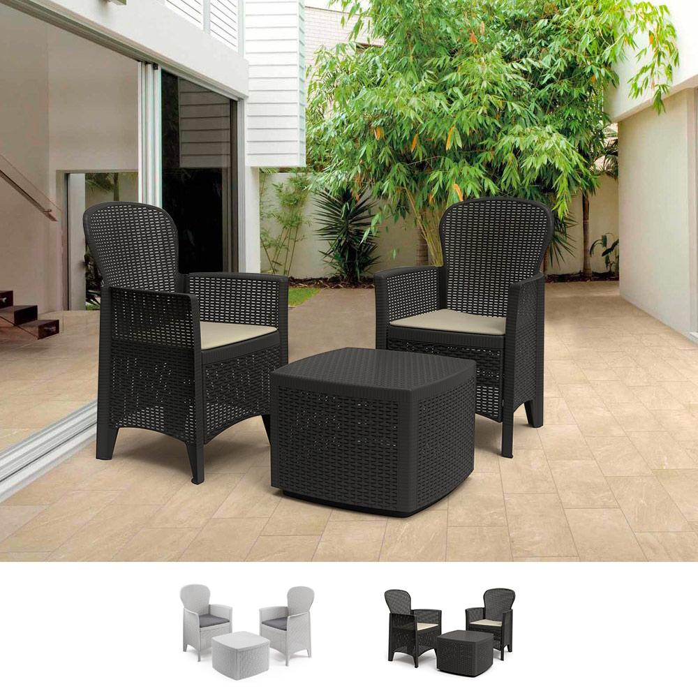 Salon de jardin extérieur 2 fauteuils coussins table rotin ProGarden Tree