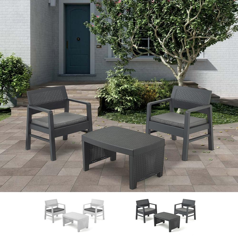 Salon de jardin en polyrotin table 2 fauteuils coussins Progarden Tambo
