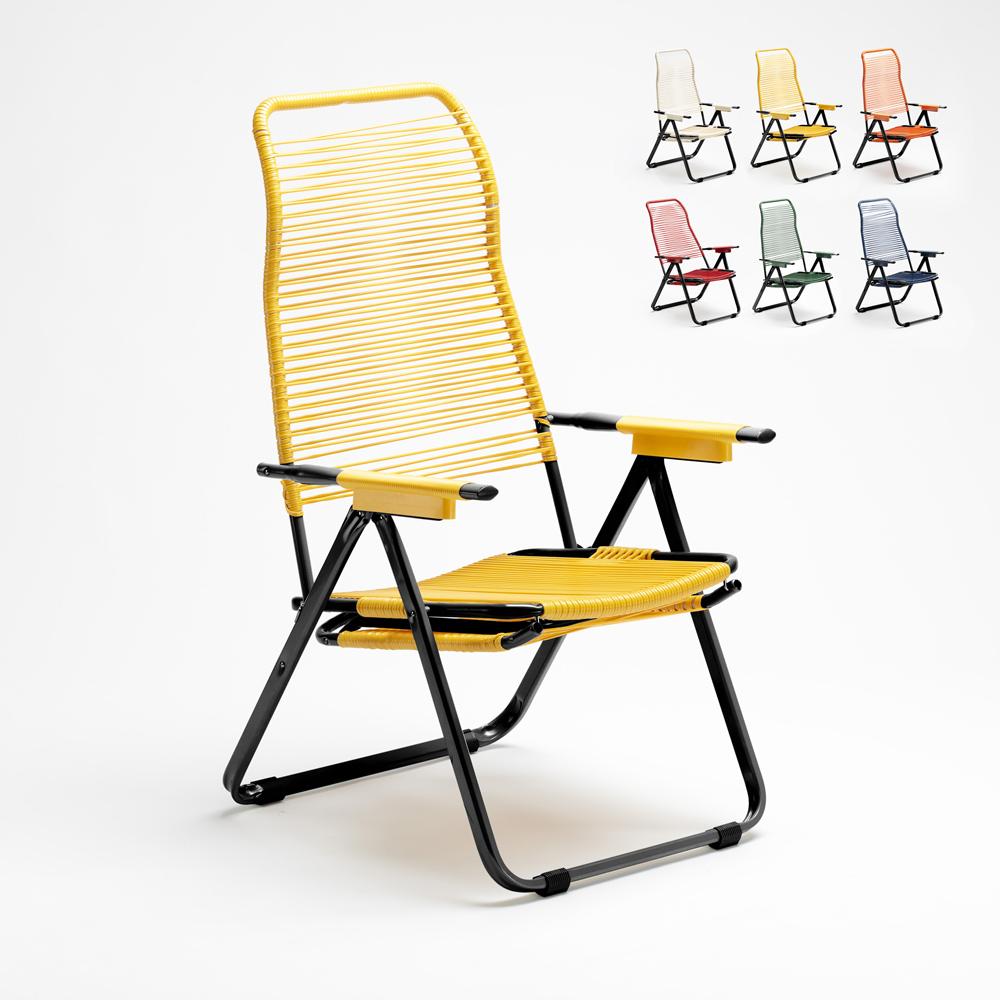 Chaise longue de jardin pliante en acier avec cordon Spaghetti Dark
