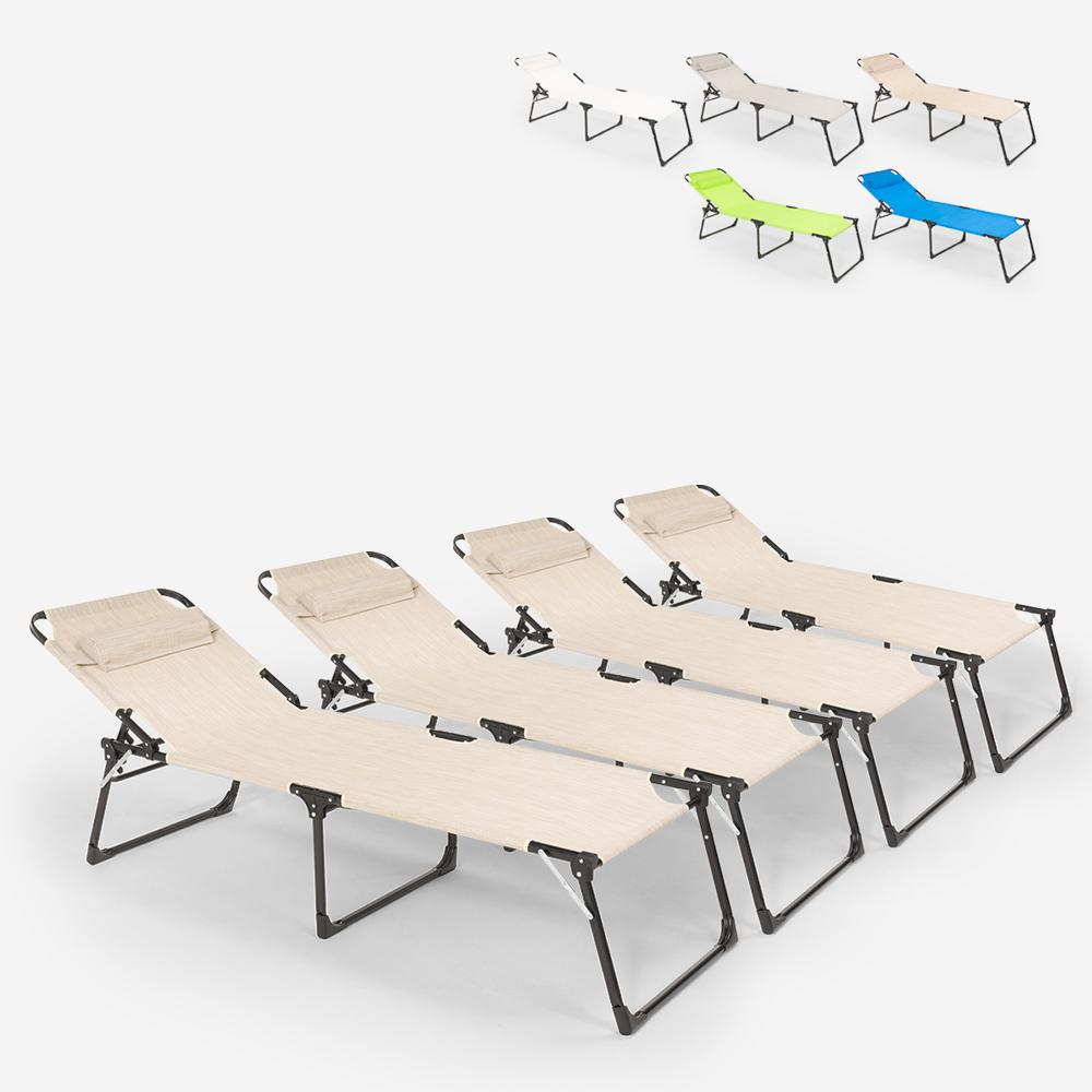 Lot de 4 chaises longues de plage et de jardin pliantes en aluminium Mauritius